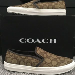 COACH C115 SLIP ON CHESTNUT/KHAKI SNEAKERS SZ 8.5
